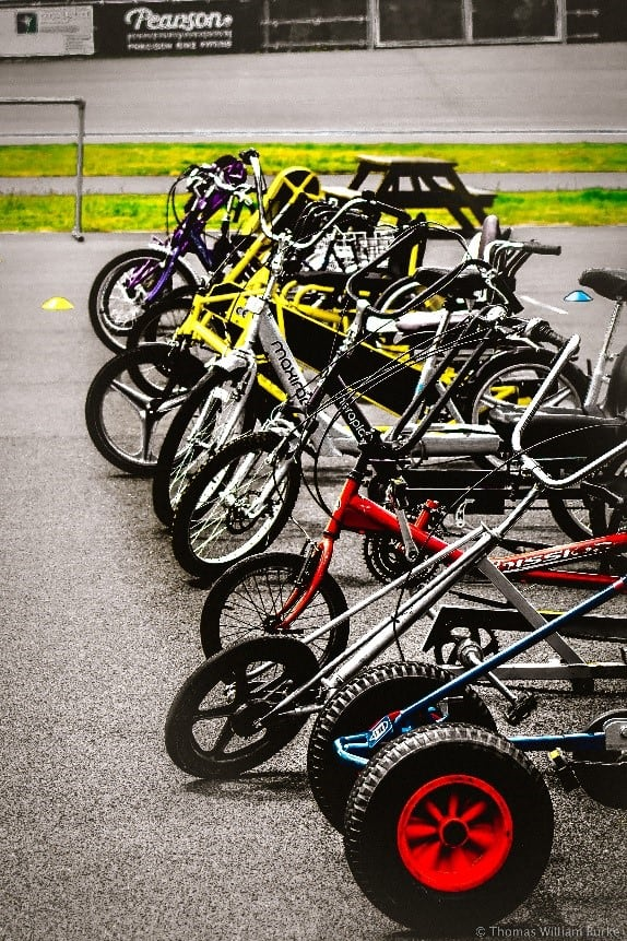 A number of non-standard cycles lined up waiting to be used.